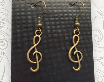 Bronze treble clef musical charm earrings