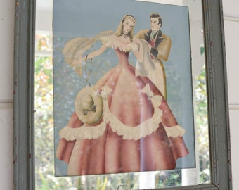 """Vintage Turner Print of Couple Blue Frame and Mirror Matte 19"""" by 21"""""""