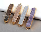 Gold Plated Slim Rectangle Natural Agate Druzy Geode Connector Gold Edge Gemstone Drusy Druzy Bar Connector Geode Jewelry DIY Making G0119