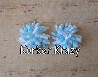 Light Blue and White Mini Korker Bows