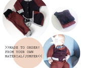 upcycled Newborn Set // custom made // made to order // MADE from your OWN MATERIAL/ jumper // cardigan// pants // bonnet for babies
