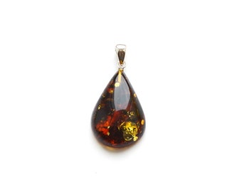 Baltic amber pendant Drop shaped, Natural Baltic amber. Genuine Drop Healing Amber piece, Drop amber pendant jewelry, 1212