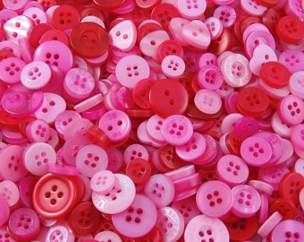 Pink & Red Mix Small Mixed Buttons - Bulk/Job Lot/Scrapbooking/Card Making/Crafting