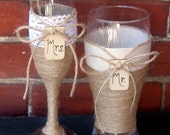 Champagne Flute and Beer Glass / Wedding Glasses Engagement Gift / Rustic Wedding Toasting Glasses / Country Wedding Glasses / Jute / Lace