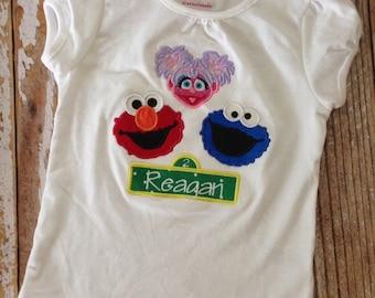 Sesame Street Trio appliqued shirt 12m-5t