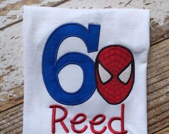 Spiderman birthday applique shirt