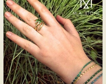 "Palm ""Palm Springs"" in green vermeil ring"