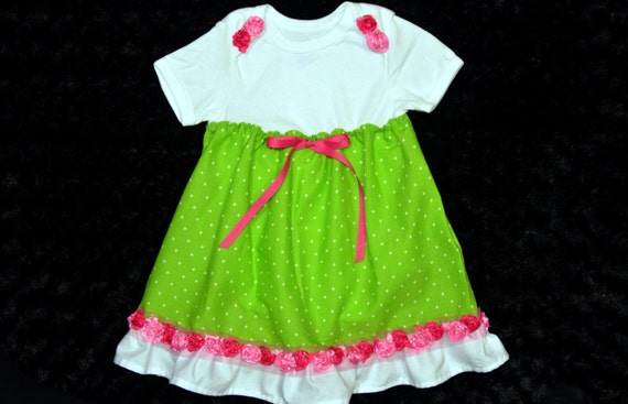 Onesie dress in Lime Green and Pink for baby by ...