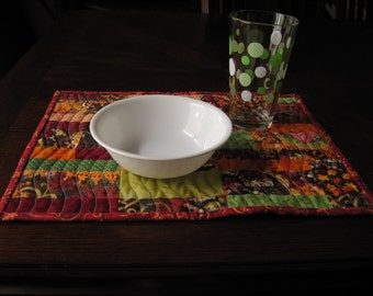 Autumn Quilted Placemat Set - rust, orange, green, brown, gold, red multi-colored mats