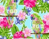 Preppy Parrots digital paper pink, turquoise, green - Original Art download, preppy download, preppy Parrots