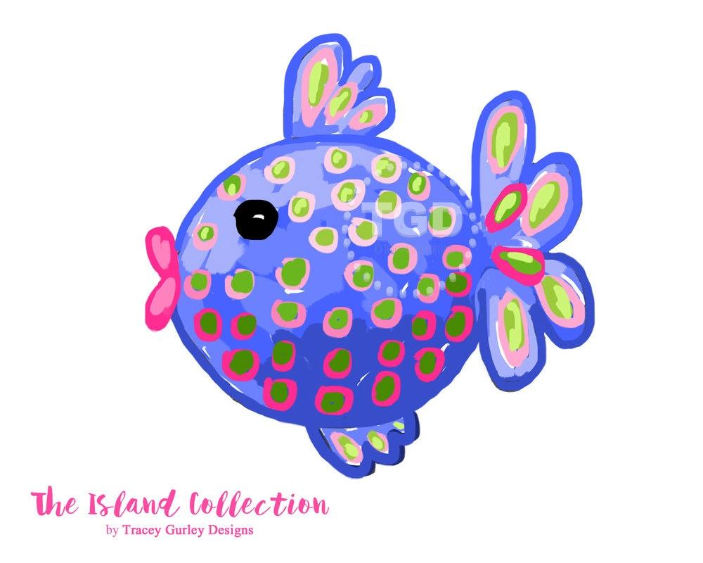 Preppy Fish clip art Preppy polka dot fish clip art