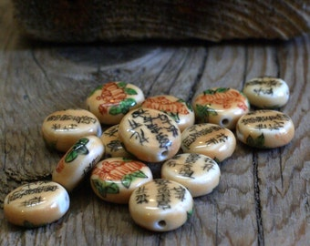 Porcelain Chinese Proverb Bead - Ivory Look - Hand Painted - Round Coins - 10mm - 10 beads