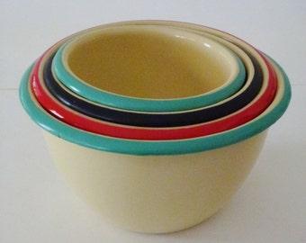 Vintage Set of 4 Nesting Enameled Bowls