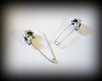 Skull brooch-skull safety pin-silver skull brooch-gothic pin-safety pin set of 2 pins