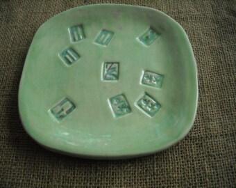 Mahjongg Plate - Green Mahjong Dish  - Oriental Plate - Snack Plate for Mahjong - Oriental Pottery - Green Pottery - Mahjong Gift