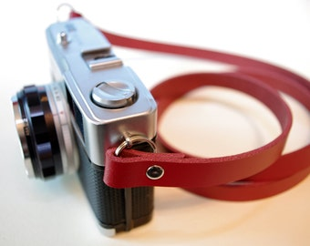 Handmade Leather Camera Neck Strap - Red