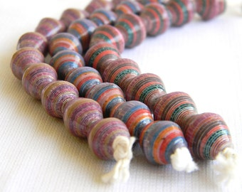 Paper Bead Jewelry Supplies - Paper Beads - Hand painted - Lot of 30 - #237