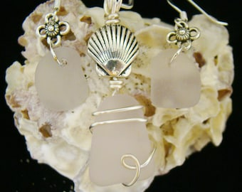 Lavender Sea Glass Necklace & Earring Set
