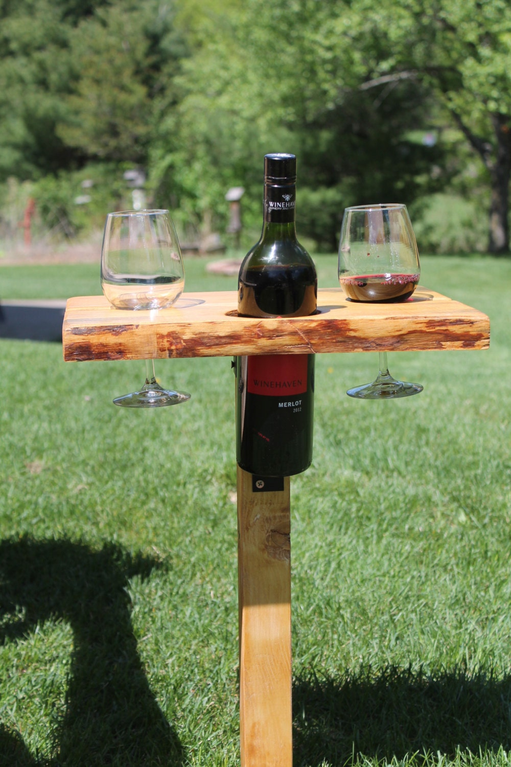 Wine table Live edge Pine Folding outdoor by Timberlinewoodworks