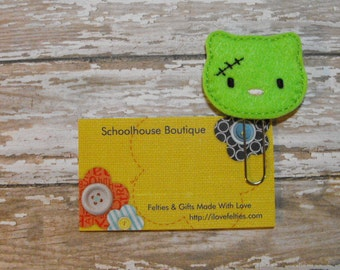 Zombie Kitty Cat felt paperclip bookmark, felt bookmark, paperclip bookmark, feltie paperclip, christmas gift, teacher gift