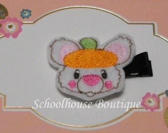 Cute Pumpkin Mouse Felt Hair Clips with your choice of ribbon color,Felties,Feltie Hair Clip,Felt Hairbow,Felt Hair Clippie,Party Favor