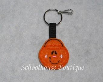 Pumpkin Bucket Felt Zipper Pull, Felt Keychain Fob, Felt Key Ring, Felt Key Fob, Purse Accessory, Luggage Tag