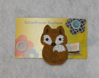 Brown Fox Felt Hair Clips, Feltie Hair Clip, felt clippie, felt hair bow, felt hair clip, party favor