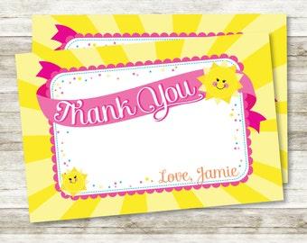 "You are My Sunshine, My Only Sunshine Little Girl's Birthday 4"" x 6"" Horizontal DIY Printable Thank You Card"