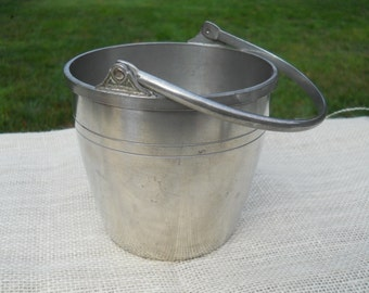 Vintage Pewter Ice Bucket with Handle by Old Colonial Pewter