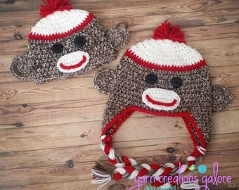 Crochet Sock Monkey Hat--Made to Order