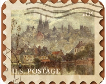 Mousepad-thick mouse pad-Vintage Postage Stamp River Houses - Free Shipping