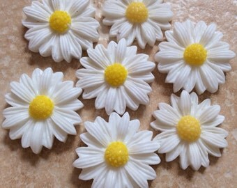 8 pcs Cabochon Flowers,White,white sun flower,white resin flower,22 mm white sun flower  22 mm white resin flower,sun flower cabochon