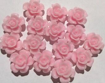 10 pcs 15 mm Soft Pink Cabochon,soft pink resin flower,Light Pink rose,15 mm pink rose cabochon flower,15 mm baby pink cabochon,flower kit