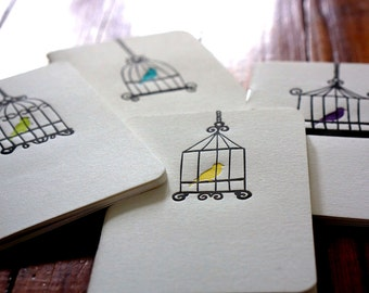 Letterpress Birdcage Notebook (set of four)