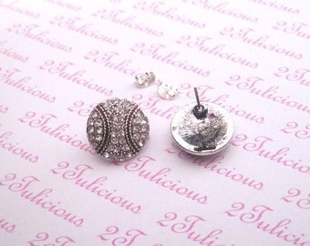 Antique Silver Plated Baseball Clear Crystal Post Earrings