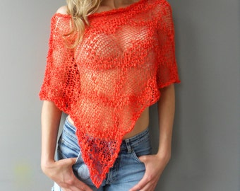 Summer cotton poncho. Loose knit poncho. Beach cover up.
