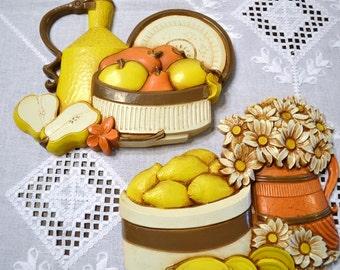 Vintage Homco Fruit and Flower Wall Hangings Yellow Orange Kitchen Decor Set of 2 Panchosporch
