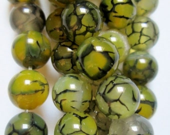 "Natural Dragon Veins Agate Beads - 8 mm Beads - Strand 7 1/2"", 23 beads, A-Quality"