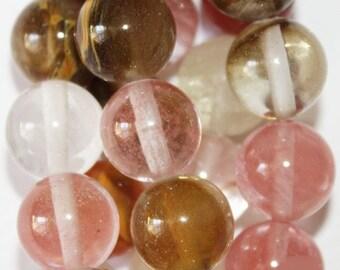 """Watermelon Quartz Beads - Round 10 mm Gemstone Beads - Full Strand 16"""", 38 beads"""
