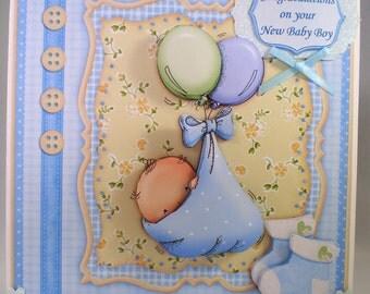 Handmade Decoupage,3D Baby Boy Greetings Card, Personalise,