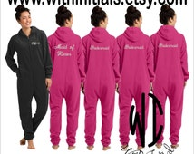 Set of 7 Monogram Adult Onesie Fleece Pajama - Fleece Lounger - Name on front and title on back - Bridesmaid Gift - Bachelorette party