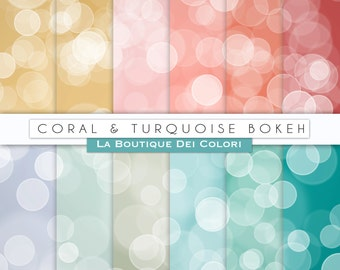 Coral and turquoise Bokeh digital paper. teal peach gold digital papers: Bokeh background scrapbooking, printables, Commercial Use