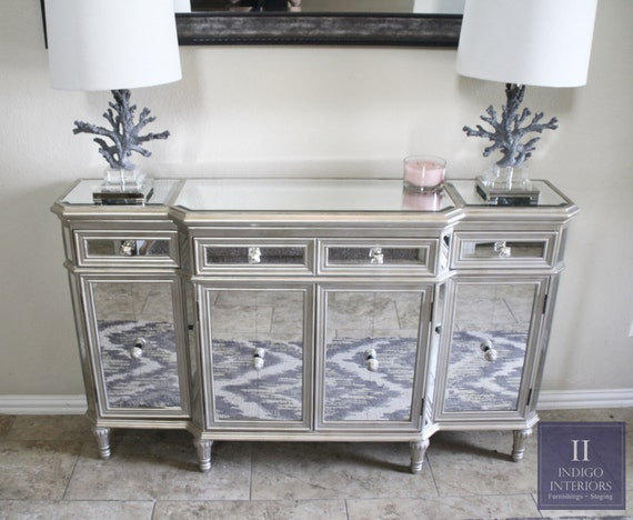 Mirrored Tv Console ~ Stunning mirrored console buffet dresser tv stand