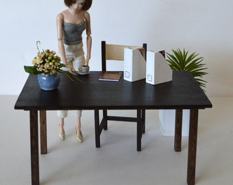 """1:6 scale table_modern dollhouse furniture_wooden playscale dining table for 10"""" to 12"""" dolls_multiple finishes and sizes available."""