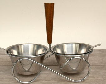 Vintage Mid-Century Condiment Holder from Sweden, 1950s, Kitchen Decor, Modern, Stainless steel, pet bowl