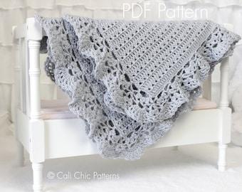 Crochet Baby Blanket PATTERN 99 - Silver Spoon- Baby Afghan Blanket PATTERN 99 - Instant download