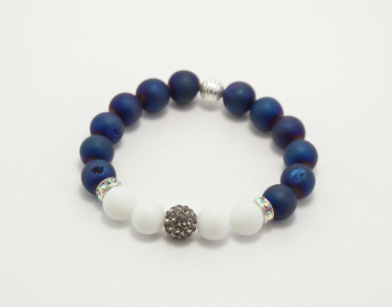 bracelet agate bracelet agate druzy blue by