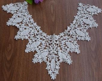 Off-white Lace Applique Cotton Collar Lace Crochet Floral V-Neck Applique one piece