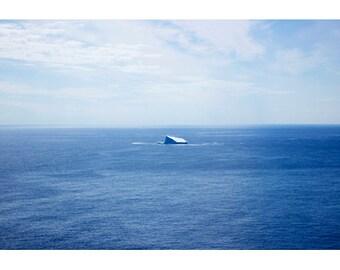 Newfoundland Art, Newfoundland Photography, Minimalist Art, Ocean Fine Art Print, Iceberg Photography, Blue and White Art