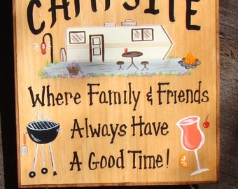 Custom Camper Sign  for Camp  or RV Lake  Motorhome  Campfire Personalized Signs Camping Grill  Drink 2 Name Boards